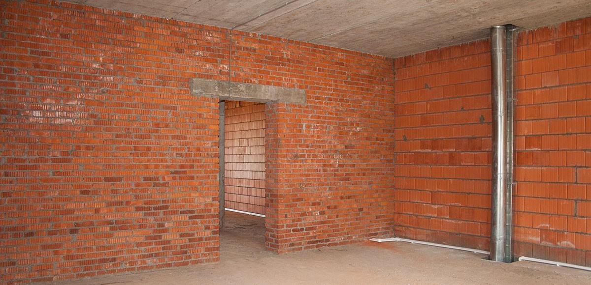 Внутренние перегородки в домах в КП Прозорово из кирпича