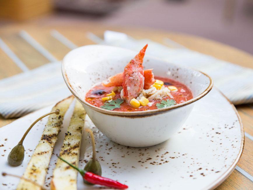 Томатный суп с крабом, ресторан El Paso, Усово