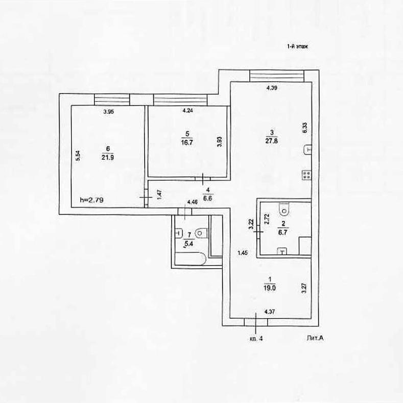 Планировка квартиры №4 в поселке Усово