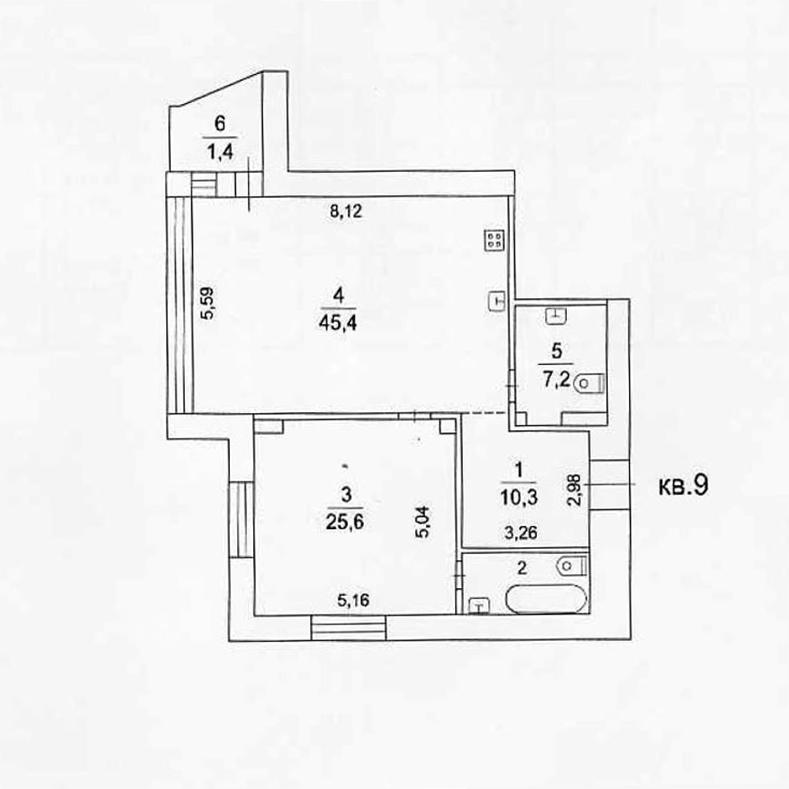 Планировка квартиры №9 в поселке Усово