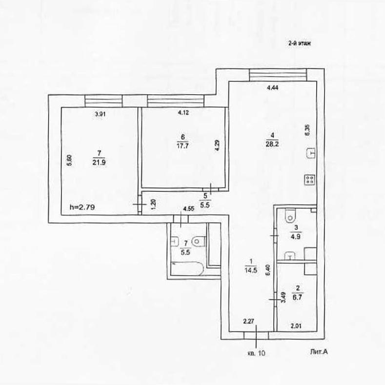 Планировка квартиры № 10 в поселке Усово